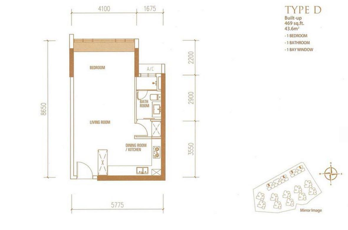 Princess Cove - Floorplan - Type D - 469 sqft