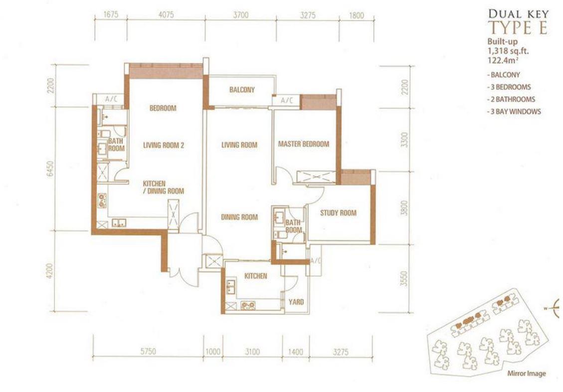Princess Cove - Floorplan - Type E - 1318 sqft - Dual Key