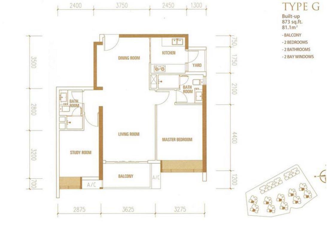 Princess Cove - Floorplan - Type G - 873 sqft
