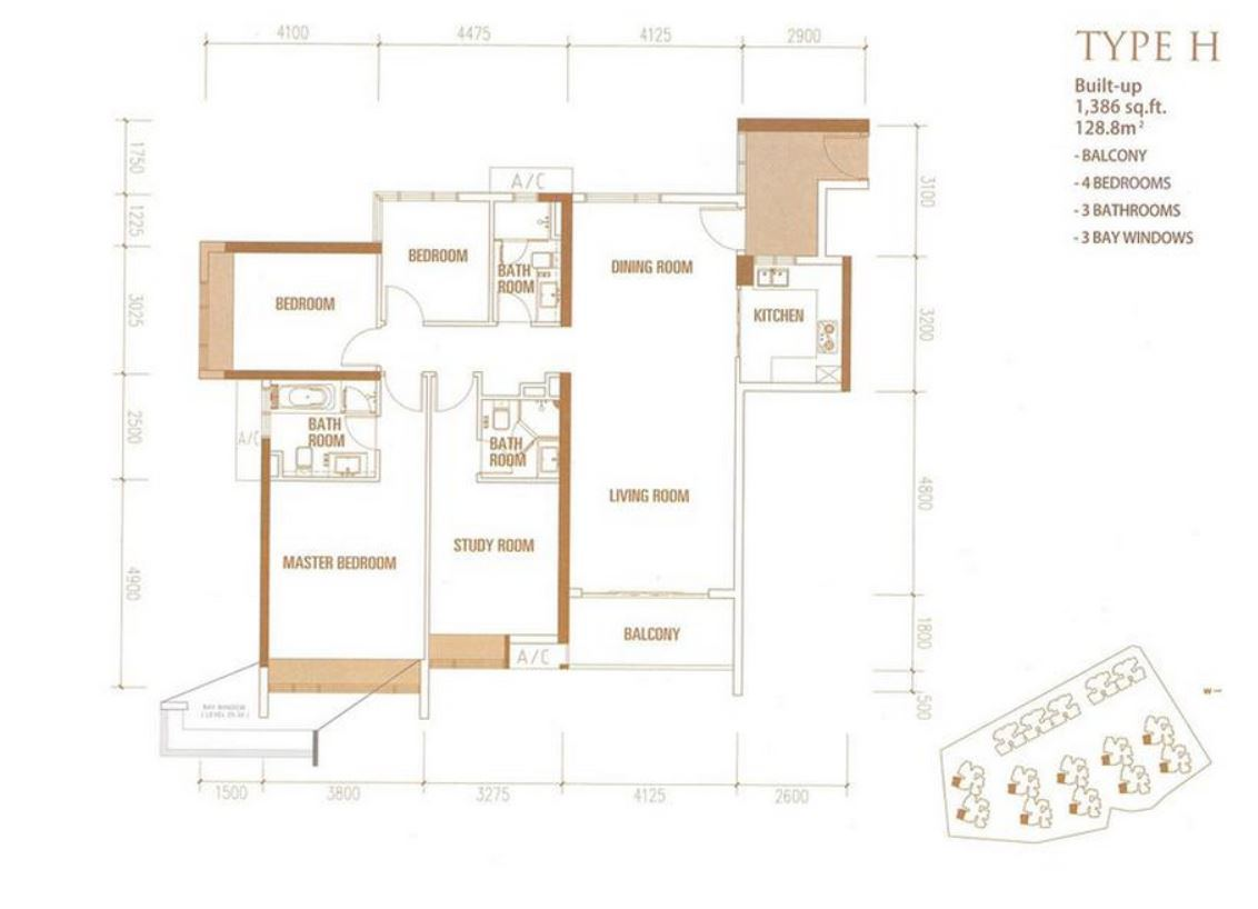 Princess Cove - Floorplan - Type H - 1386 sqft