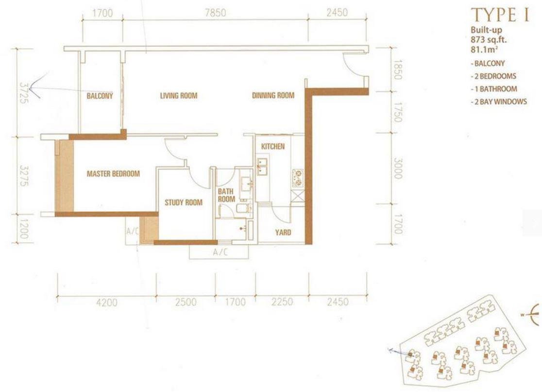 Princess Cove - Floorplan - Type I - 873 sqft