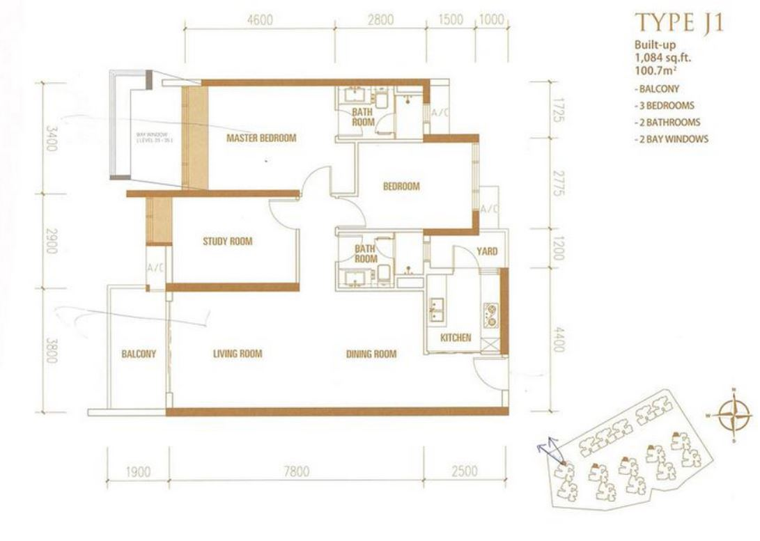 Princess Cove - Floorplan - Type J1 - 1084 sqft