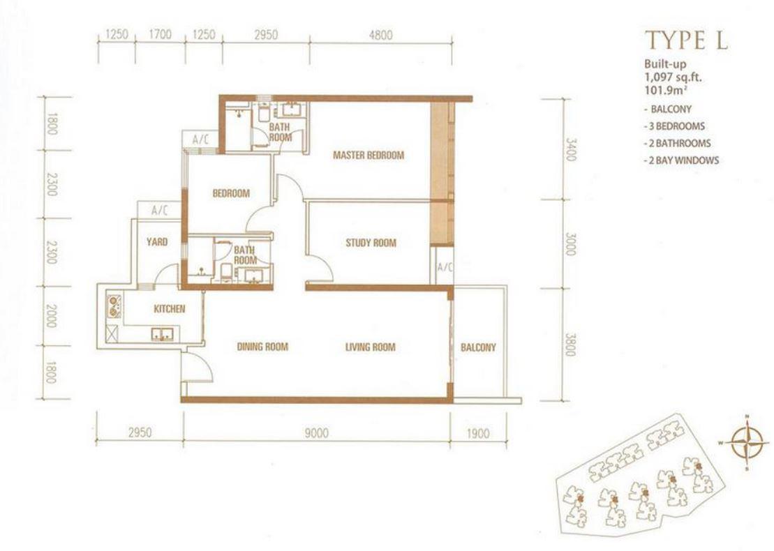 Princess Cove - Floorplan - Type L - 1097 sqft