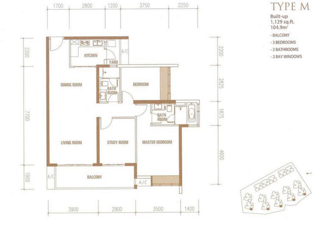 Princess Cove - Floorplan - Type M - 1129 sqft