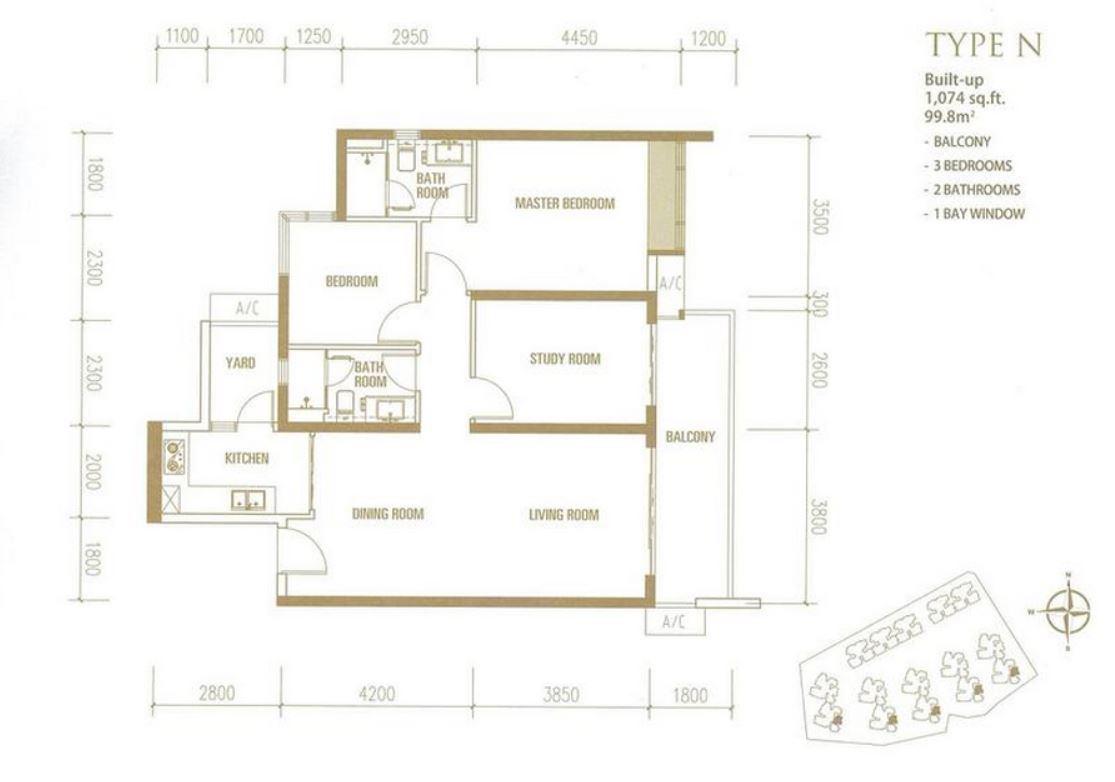 Princess Cove - Floorplan - Type N - 1074 sqft