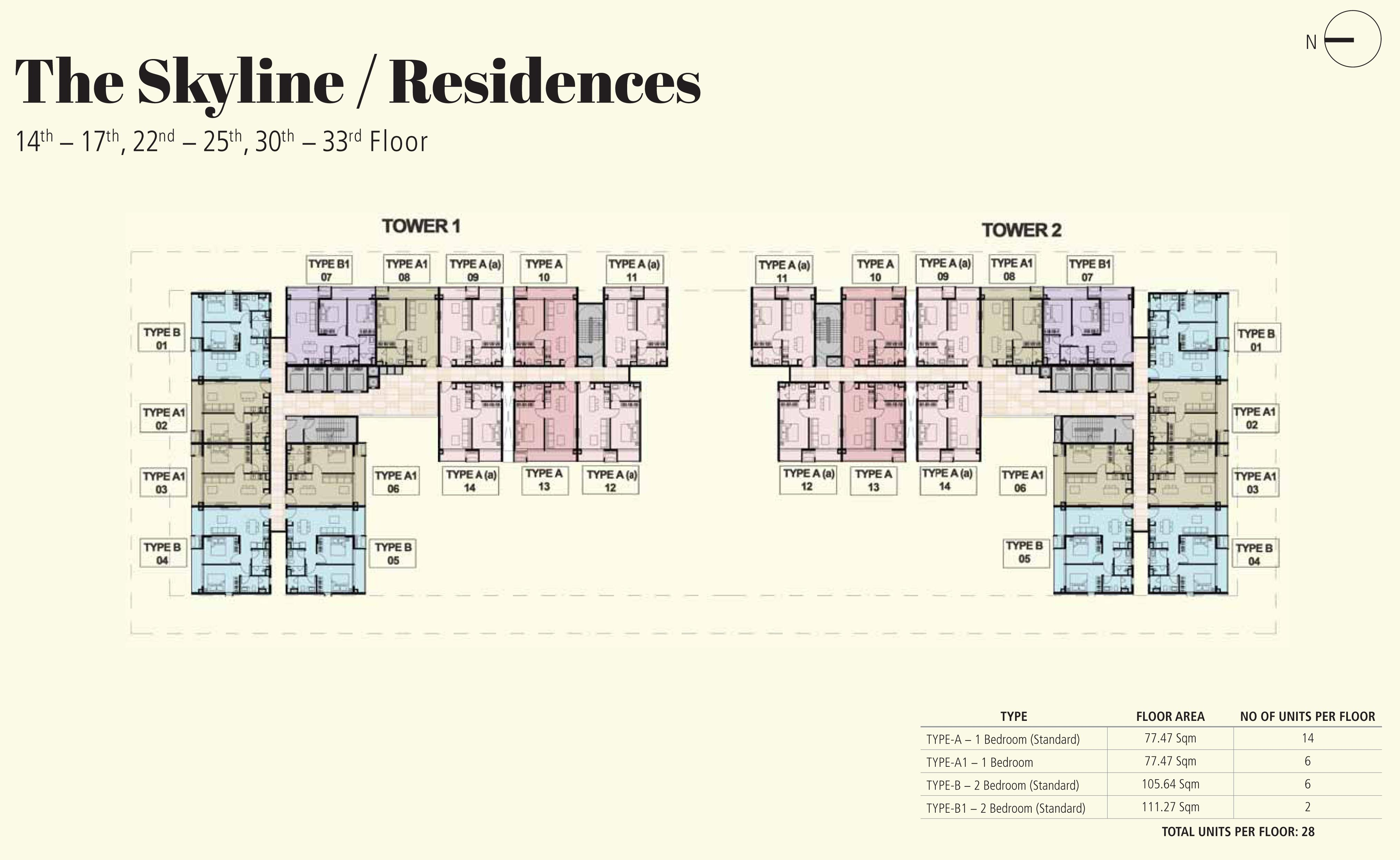 14th-17th, 22nd-25th, 30th-33rd Floor Plans