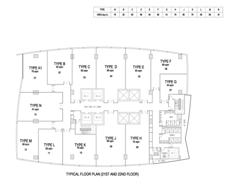 Floor Plan 21 to 22 Offices