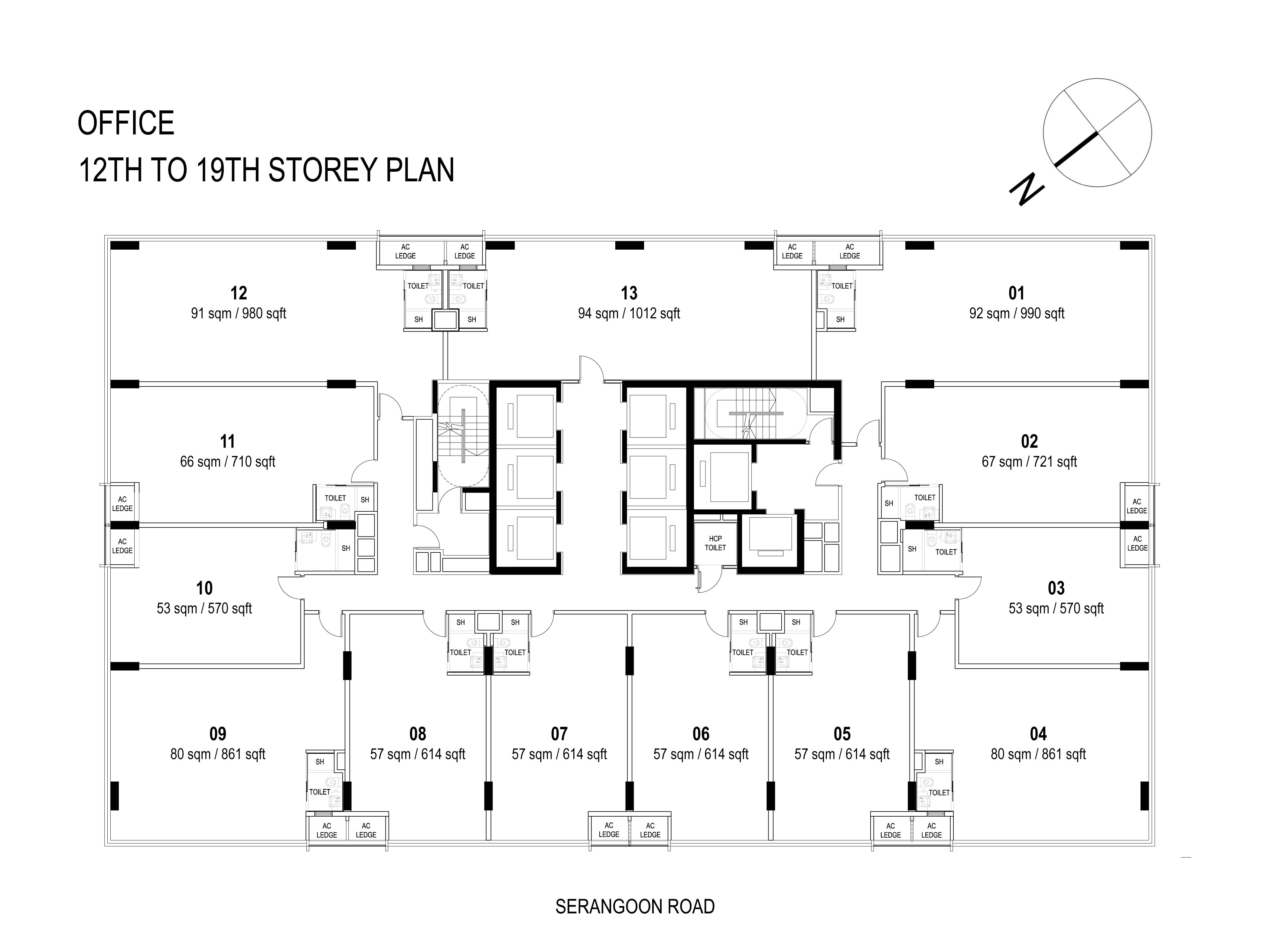 12th to 19th Floor plan