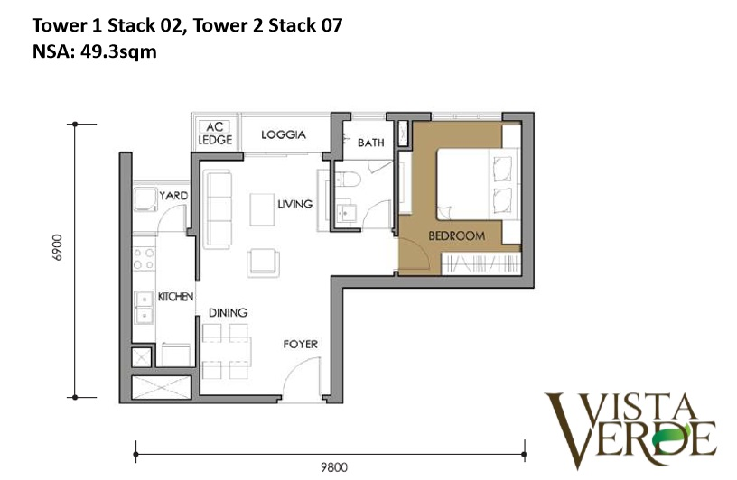 Tower 1 Stack 02, Tower 2 Stack 07 NSA: 49.3sqm