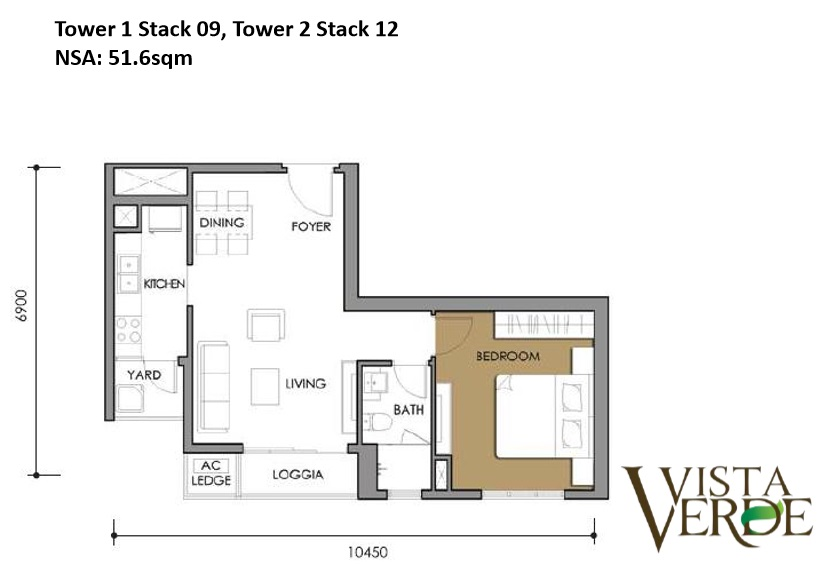 Tower 1 Stack 09, Tower 2 Stack 12 NSA: 51.6sqm