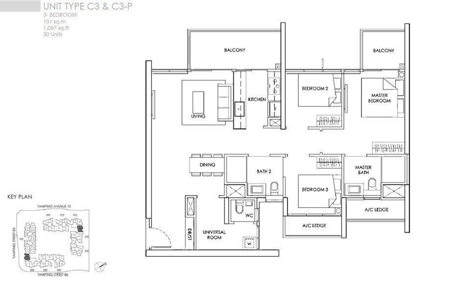 The alps residences propertyfactsheet for 3 bedroom unit floor plans