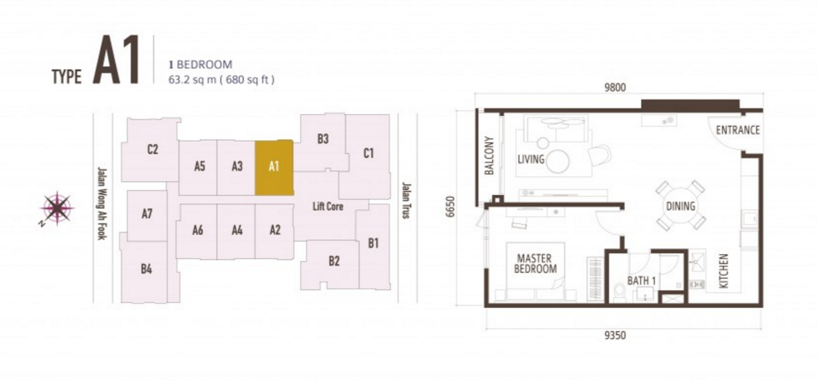 FloorPlan 1 Bedroom Type A1