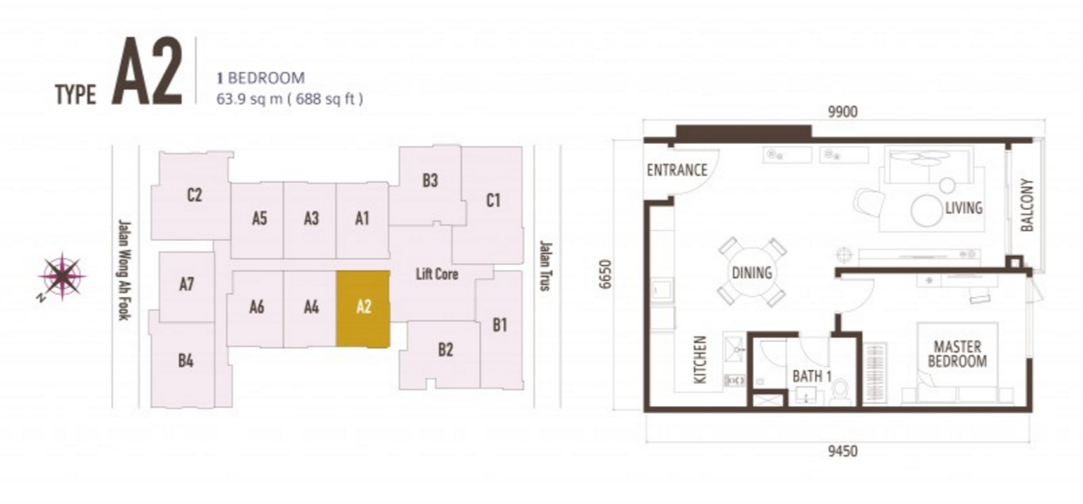 FloorPlan 1 Bedroom Type A2