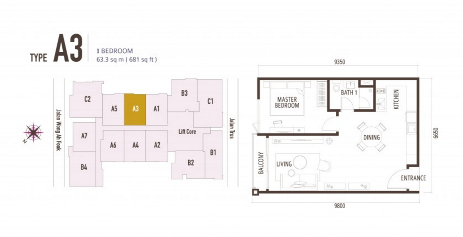 FloorPlan 1 Bedroom Type A3