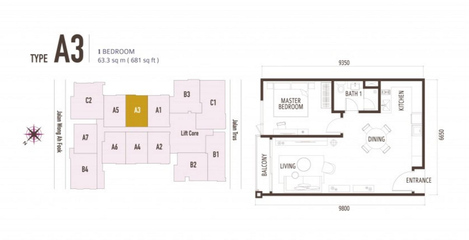 FloorPlan 1 Bedroom Type A3
