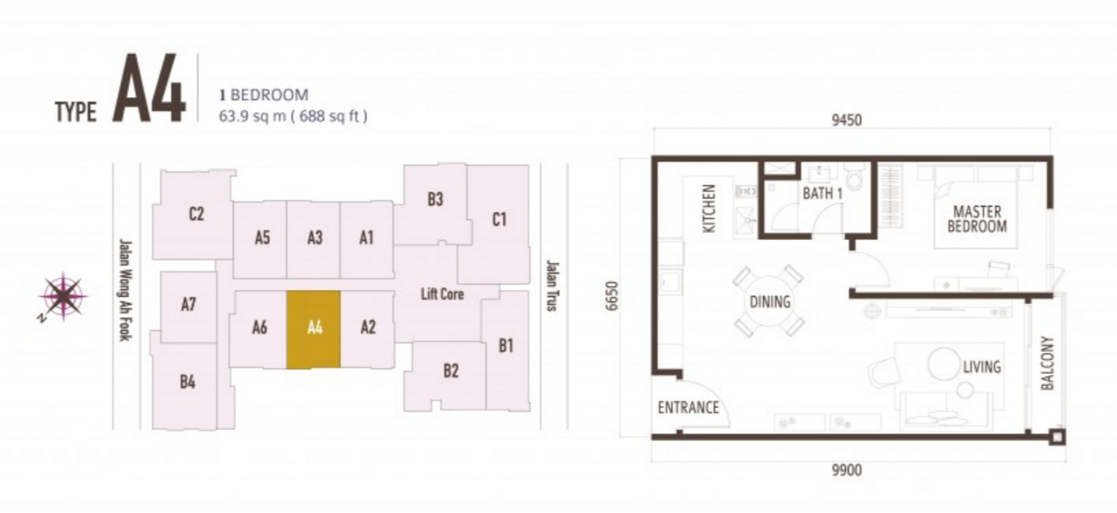 FloorPlan 1 Bedroom Type A4