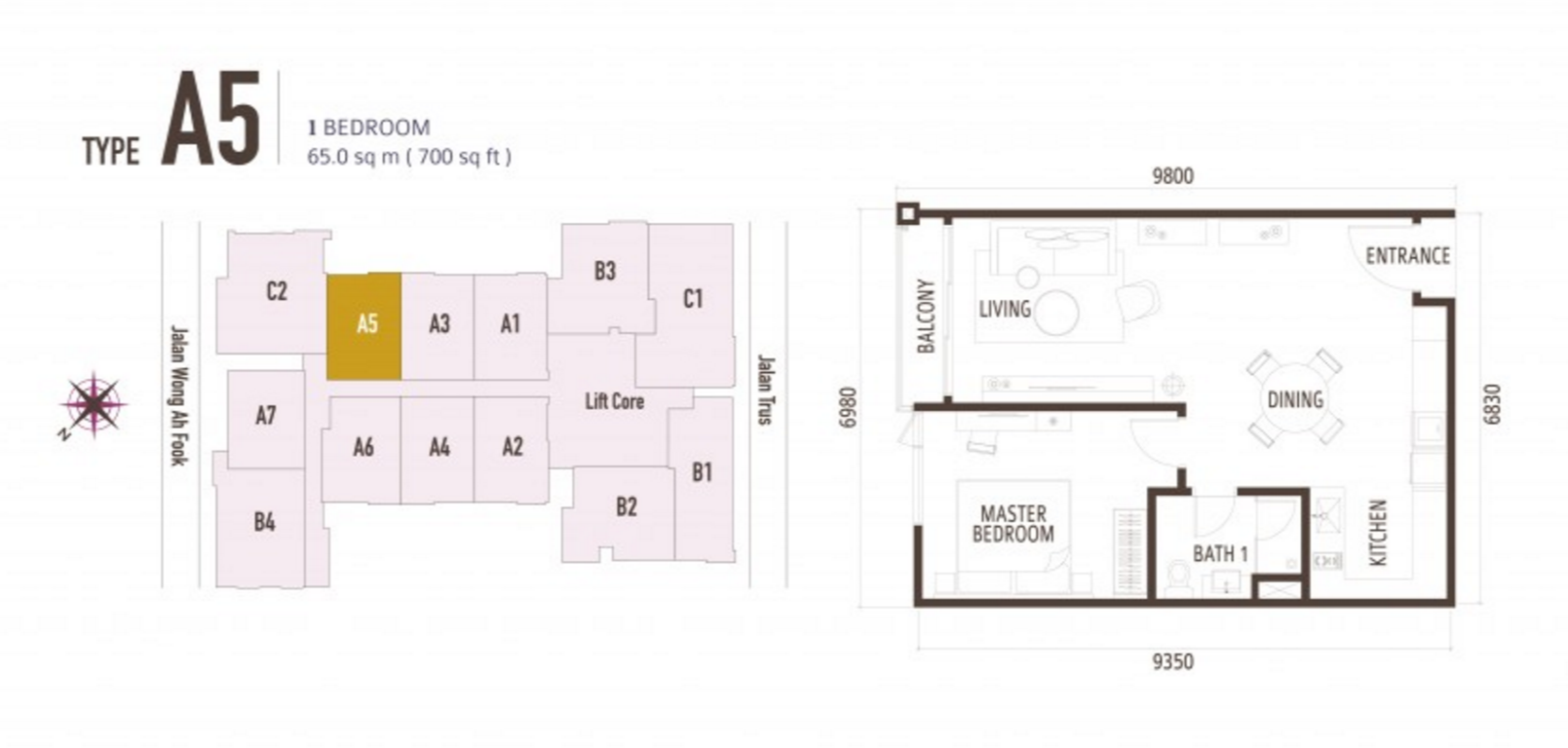 FloorPlan 1 Bedroom Type A5