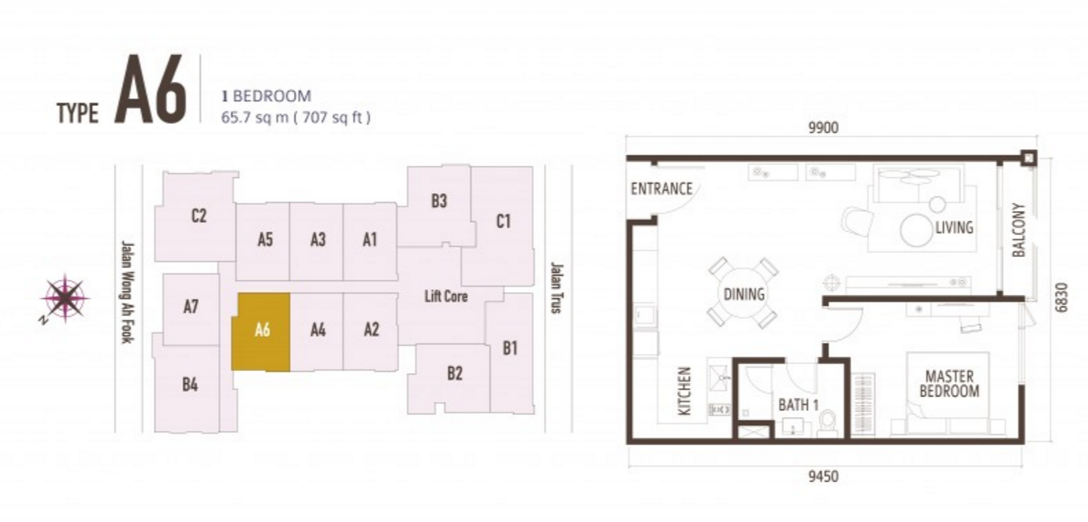 FloorPlan 1 Bedroom Type A6