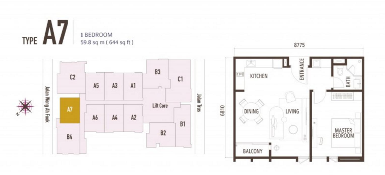 FloorPlan 1 Bedroom Type A7