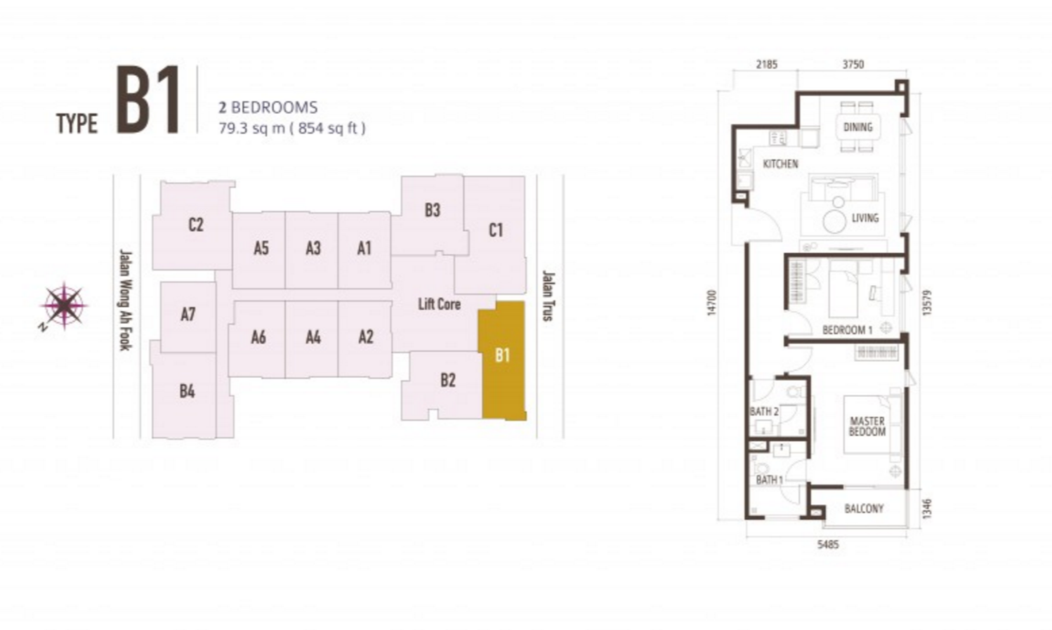 FloorPlan 2 Bedroom Type B1