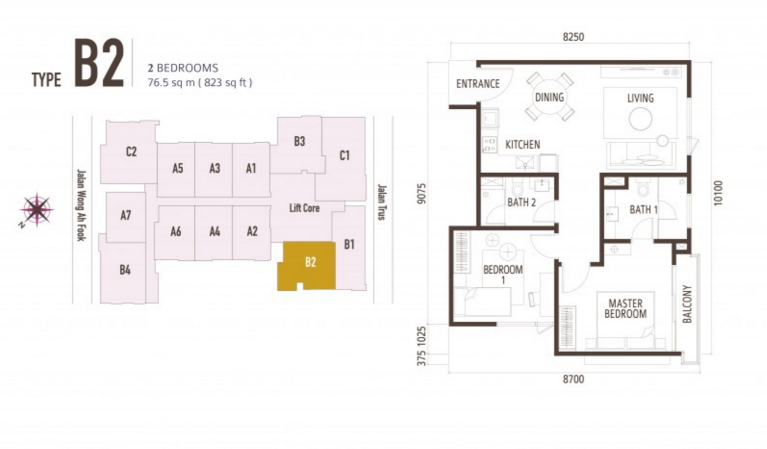 FloorPlan 2 Bedroom Type B2