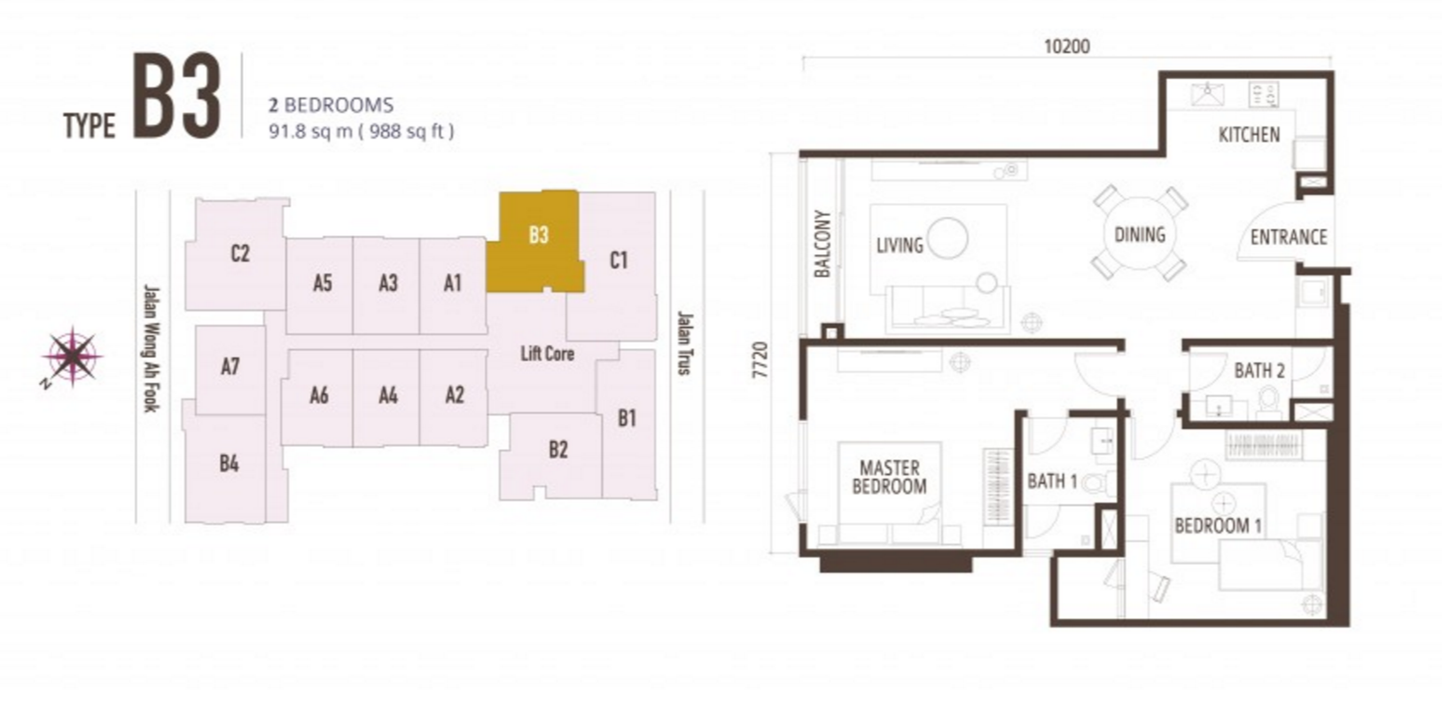 FloorPlan 2 Bedroom Type B3