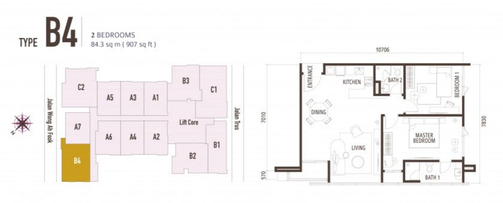 FloorPlan 2 Bedroom Type B4