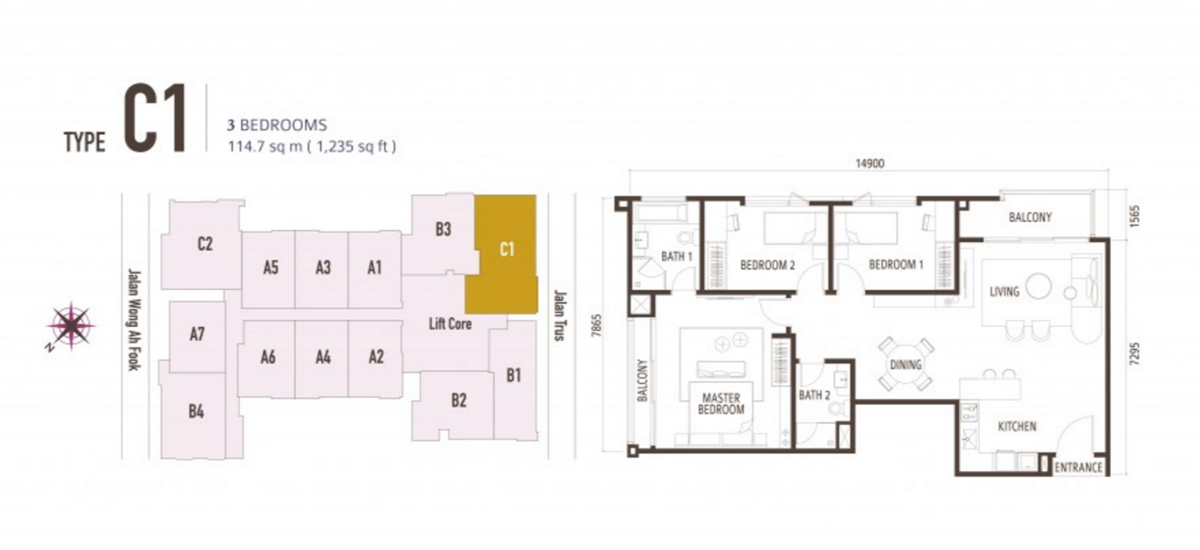 FloorPlan 3 Bedroom Type C1