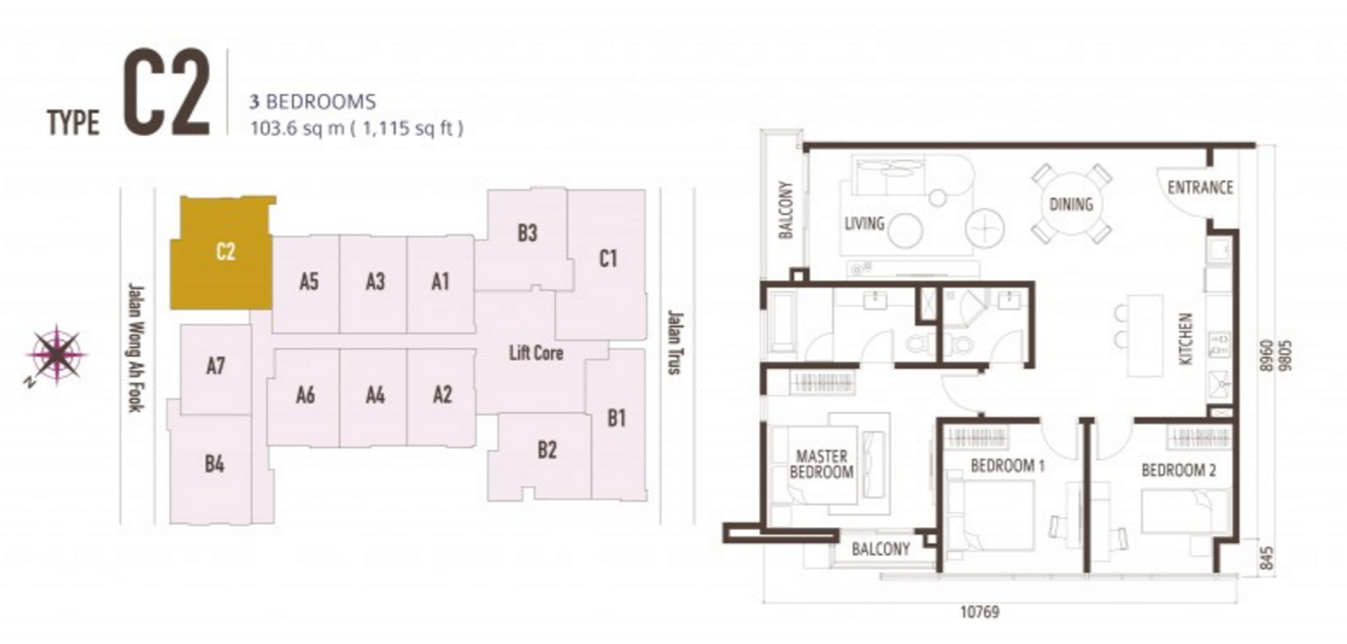 FloorPlan 3 Bedroom Type C2