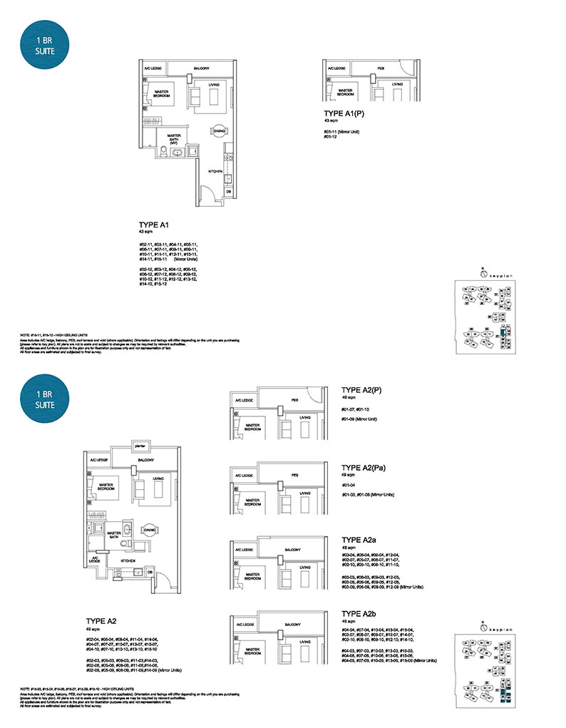 1 Bedroom Type A1 A2