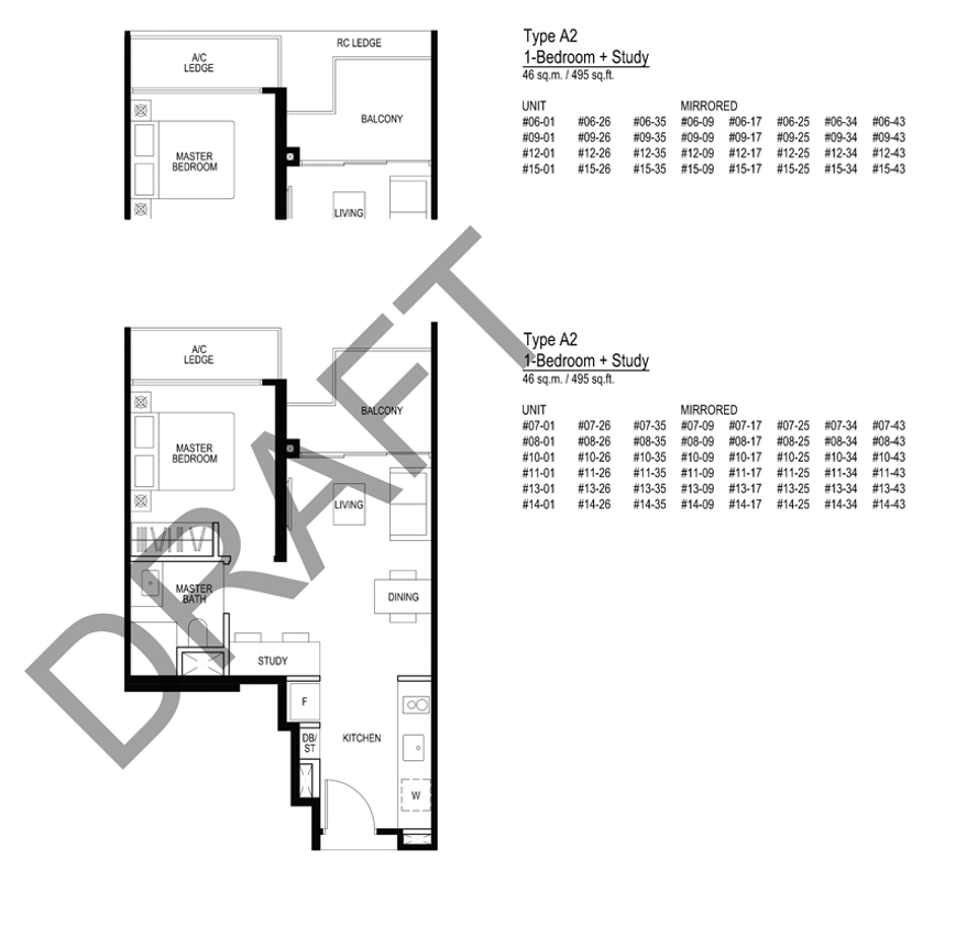 Le quest A2 Floorplan 1 Bedroom