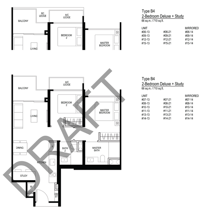 Le quest B4 Floorplan 2 Bedroom