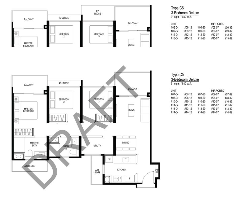 Le quest C5 Floorplan 3 Bedroom