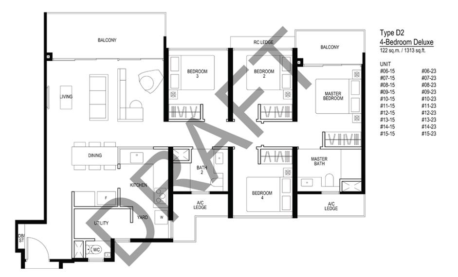 Le quest D2 Floorplan 4 Bedroom