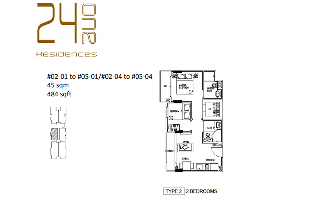 24 One Residences Type 2 2 Bedroom