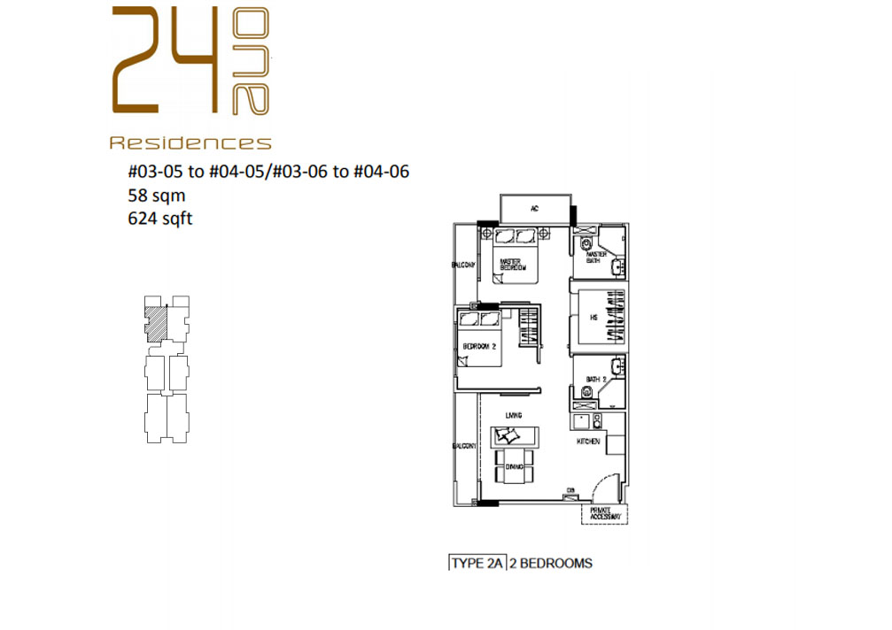 24 One Residences Type 2A 2 Bedroom