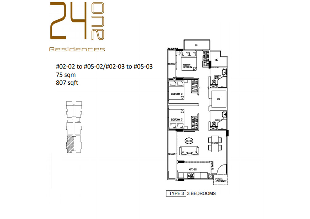 24 One Residences Type 3 3 Bedroom