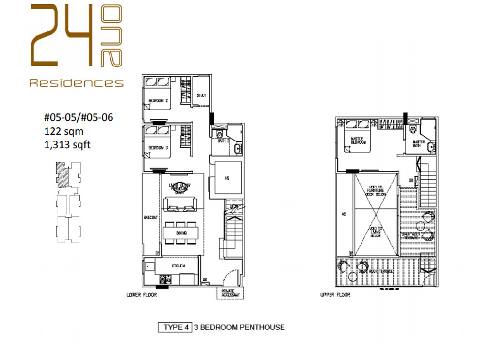 24 One Residences Type 4 3 Bedroom Penthouse