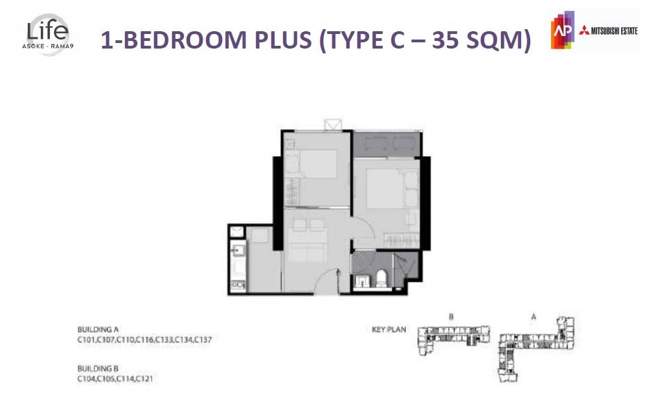 1BR Plus TypeC 35sqm