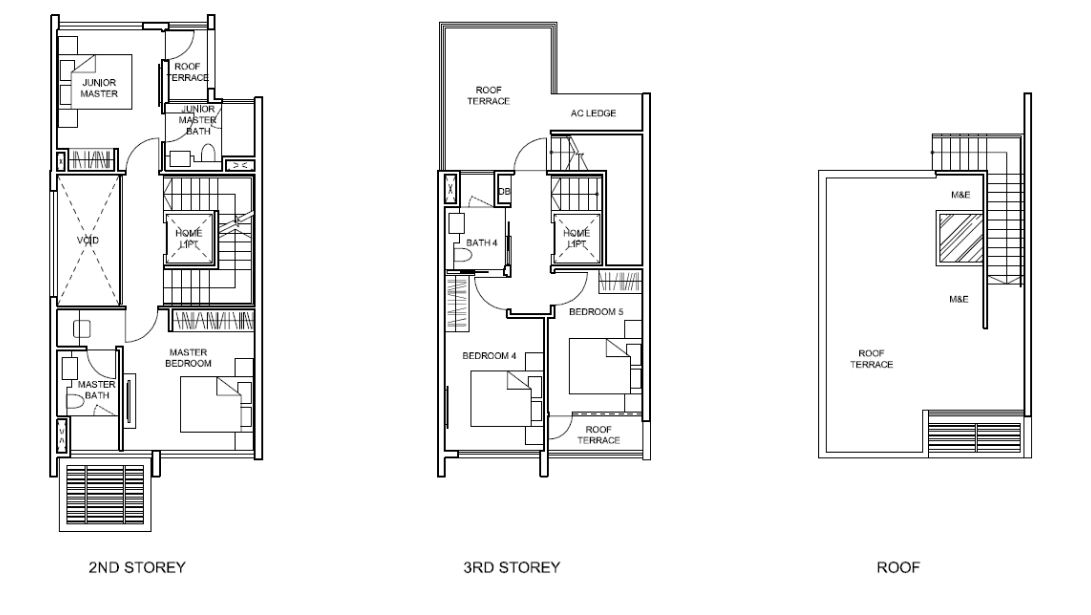 Belgravia Villas Floor Plan 2nd Storey,3rd Storey ,Roof