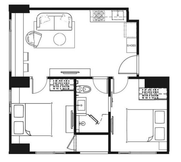 FLOOR PLAN 2 BEDROOMS 48.75 SQ.M.