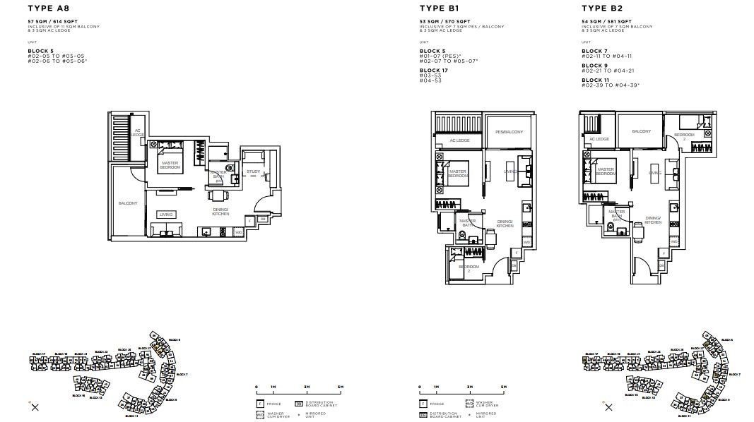 Floor Plan 1 Bed Room+Study and 2 Bedroom