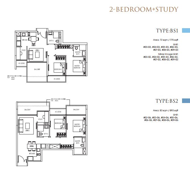 2 Bedroom+Study TypeBS1_BS2