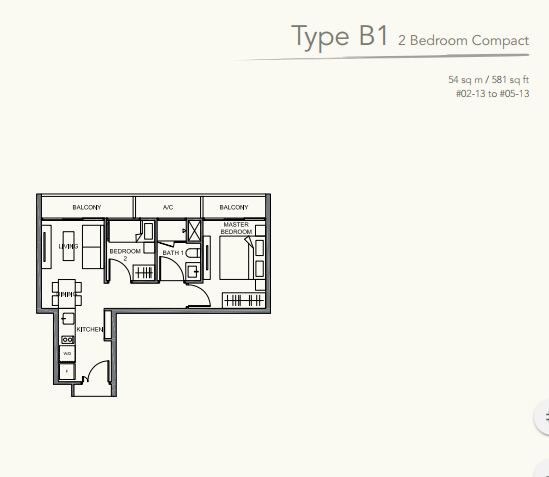 Floor Plan TypeB1 2 bedroom