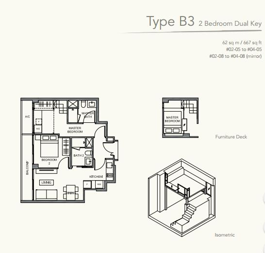Floor Plan TypeB3 2 bedroom DUAL KEY