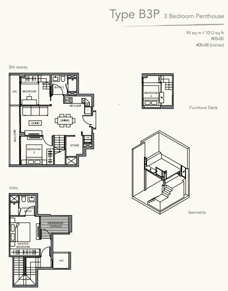 Floor Plan TypeB3P 3bedroom PENTHOUSE