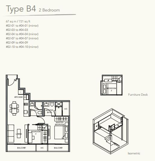 Floor Plan TypeB4 2 bedroom DUAL KEY