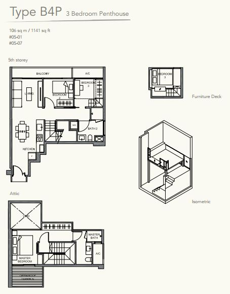 Floor Plan TypeB4P 3bedroom PENTHOUSE