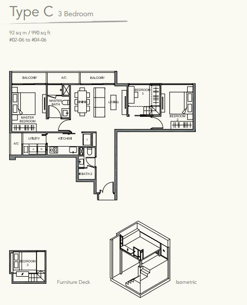 Floor Plan TypeC 3 bedroom