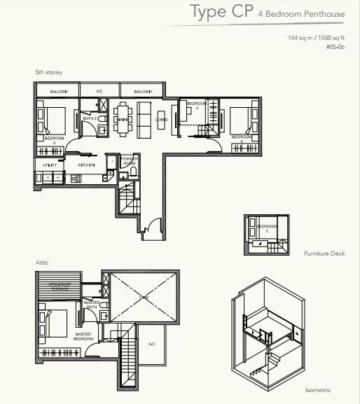 Floor Plan TypeCP 4bedroom PENTHOUSE